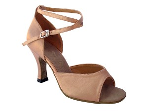 "6012 Brown Satin with 3"" Heel in the photo"