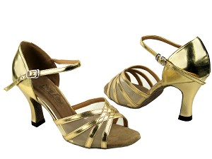 "6027 Gold Leather & Flesh Mesh with 3"" Heel in the photo"