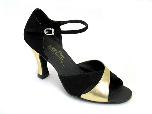 "6029 Black Nubuck & Gold Leather with 3"" Heel in the photo"