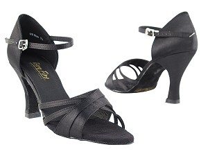 "6030 Black Satin with 3"" Heel in the photo"