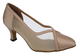 "6815 Light Brown Satin & Flesh Mesh with 2.5"" low heel in the photo"