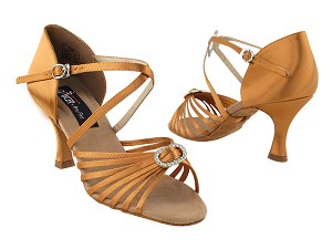 "CD2030 Dark Tan Satin with 3"" Flare heel in the photo"