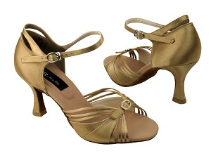 "CD2166 Tan Satin with 3"" Flare heel in the photo"