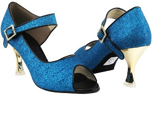 "CD3005 Blue Stardust with 3"" Gold Plated Flare Heel in the photo"