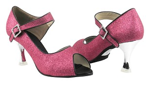 "CD3005 Pink Stardust with 3"" Silver Plated Flare Heel in the photo"