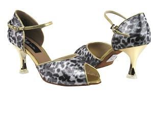 "CD3009 Snow Leopard with 3"" Gold Plated Flare Heel in the photo"