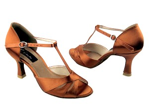 "CD6200 Dark Tan Satin with 3"" Flare heel in the photo"