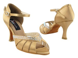 "CD6801 Tan Satin with 3"" Flare heel in the photo"