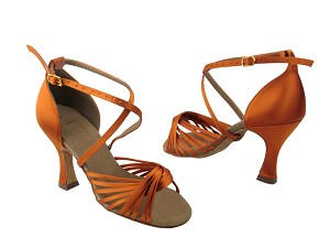 "S1001 Orange Tan Satin with 3"" Flare heel in the photo"
