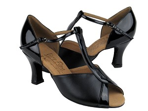 "S2804 Black Leather & Black Patent with 2.5"" heel in the photo"