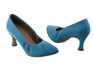 "S9107 Glitter Blue Satin with 2.75"" heel in the photo"