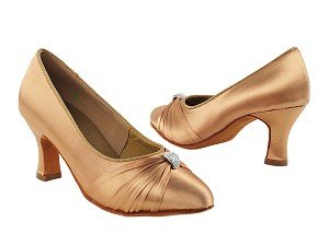 "S9169 Tan Satin with 2.5"" Heel in the photo"
