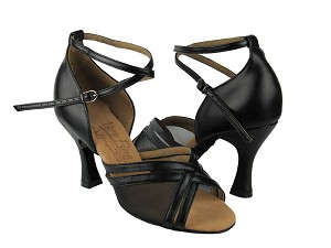 "S9204 Black Leather with 3"" Flare heel in the photo"