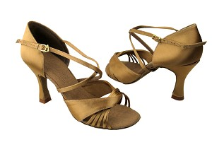 "S92305 Tan Satin with 3"" Flare heel in the photo"
