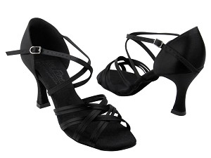 "S92313 Black Satin with 3"" Flare heel in the photo"