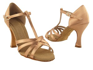 "S9235 Tan Satin with 3"" Flare heel in the photo"