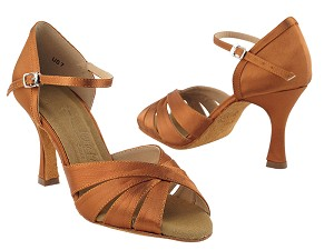 "SERA1311 Dark Tan Satin with 3"" heel in the photo"