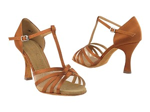 "SERA16612 Dark Tan Satin with 3"" heel in the photo"
