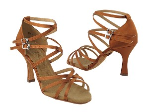 "SERA5008 Dark Tan Satin with 3"" heel in the photo"