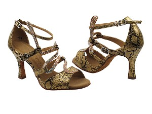 "SERA7017 Gold Snake with 3"" heel in the photo"
