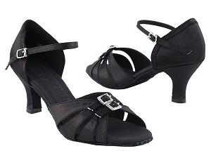 "SERA1131 Black Satin with 2.5"" heel in the photo"