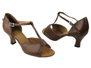 "1609 133 Coffee Brown Leather with 2.5"" Low Heel in the photo"