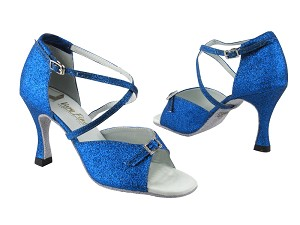 "1636 234 Blue Stardust_Stone_White insole with 3"" heel in the photo"