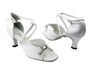 "1636 34 White Satin & Stone with 2.5"" Low Heel in the photo"