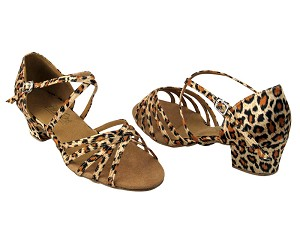 "1670C Leopard Satin with 1.5"" Medium Heel in the photo"