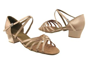 "1670C Light Brown Satin with 1.5"" medium heel in the photo"