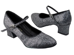 "1682 97 Black Sparklenet with 2"" Thick Cuban heel in the photo"