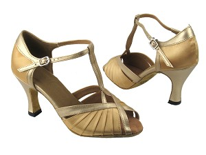 "2707 80 Light Gold Satin_57 Light Gold Leather Trim with 3"" heel in the photo"