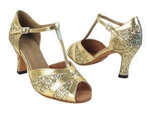 2712 9 Gold Sparkle_62 Gold PU Trim with (6812) 3 inch Heel in the photo