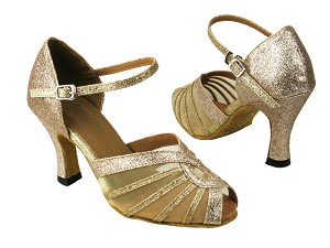 "2719 125 Gold Stardust_Flesh Mesh with 3"" heel in the photo"