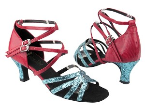 "5008 188 Light Blue Sparkle_175 Red Snake with 2.5"" Low heel in the photo"