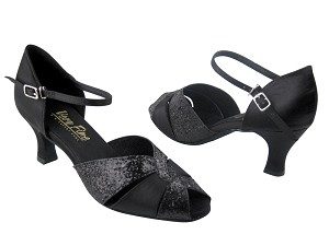 "6006 Black Sparkle (X) & Black Satin (Without T Strap) with 2.5"" Low Heel in the photo"