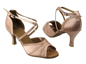 "6023 Light Brown Satin with 2.75"" Flare heel in the photo"
