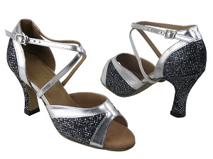 "6024F Black Sparklenet & Silver Leather Trim & 6023 Back with 3"" Heel in the photo"