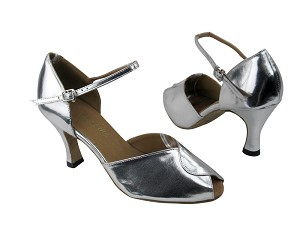 "6028 Silver Leather with 3"" heel in the photo"