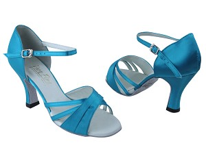 "6030 230 Light Blue Satin with 3"" Heel in the photo"