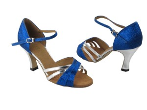 "6030 234 Blue Stardust & Silver Leather with 3"" Heel in the photo"