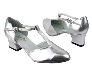 "6819 119 Silver Leather with 2"" Thick Cuban heel in the photo"