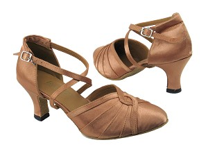 "6825B 81 Brown Satin with 2.5"" low heel in the photo"