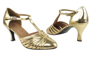 "6829 Gold Leather with 2.5"" Low heel in the photo"