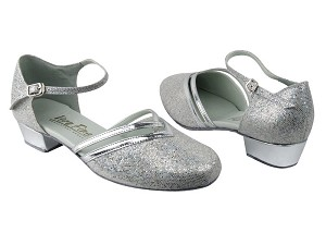 "8881 Silver Scale_Silver Leather Trim with 1"" Medium heel in the photo"