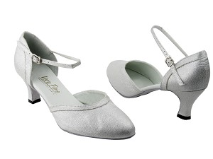 "9621 22 Silver Glitter Satin with 2.5"" Low Heel in the photo"