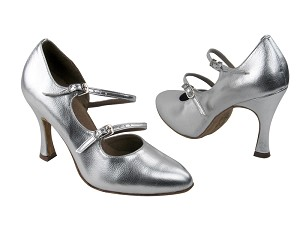 "PP201 BA32 Silver Leather with 3.5"" Flare Heel in the photo"