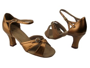"PP204A BA45 Dark Tan Gold Leather with 2.5"" Heel in the photo"