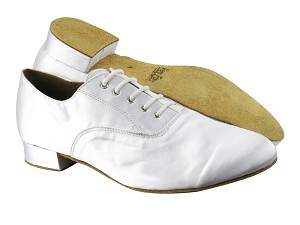 "919101 White Satin_Brown Sole with 1"" Standard heel in the photo"