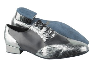 "M100101 224 Snake Grey_Black Leather with 1"" Standard heel in the photo"